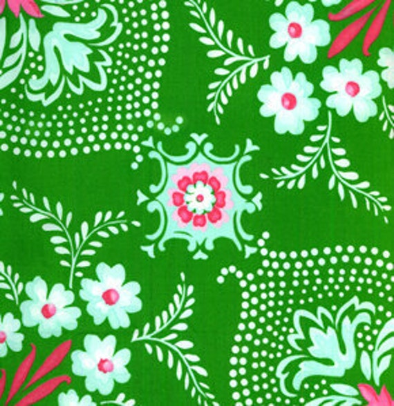 Dance With Me ANN Flower Mural Green JP12 by Jennifer Paganelli Sis Boom for FreeSpirit Cotton Fabric - 1 yard