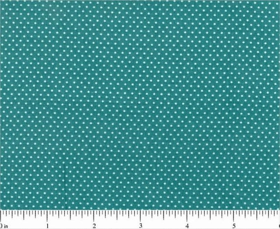 Deep TURQUOISE Blue Mini Dot Pin Dot Polka Dots Cotton Fabric by Santee Print Works - 1 Yard