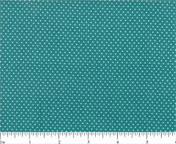 Deep Turquoise Blue Mini Dot Pin Dot Polka Dots Cotton Fabric