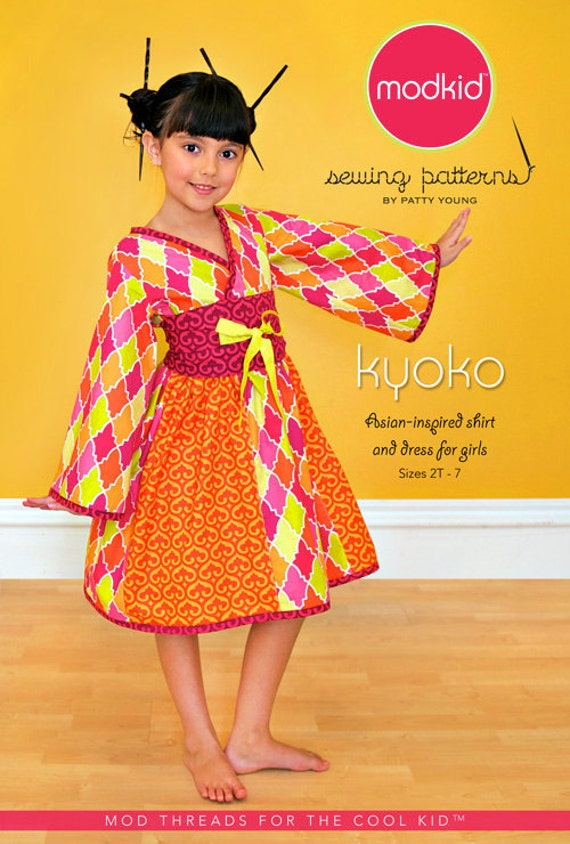 Modkid Kyoko Girls size 2T-7 Asian Inspired Kimono style Shirt and Dress Sewing Pattern by Patty Young