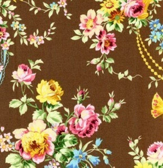 Loopy Vintage Floral in BROWN Flower Power Collection by Jennifer Paganelli for Free Spirit Fabrics - 26 inches by 44 inches