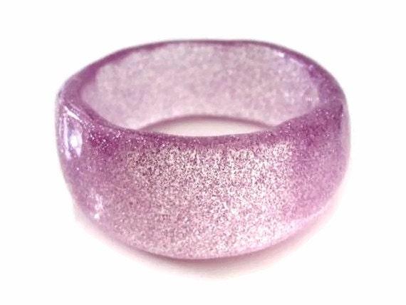 Chunky Resin Bangle Bracelet in Lilac Sparkle