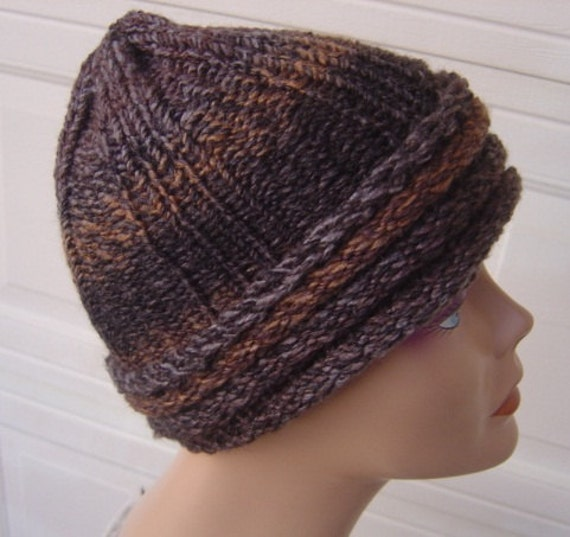 Tweed Tundra Variegated Striped Toboggan - OOAK