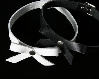 Leather Bow Choker - New Leather- 90's Style~ TREASURY LIST ITEM- Ready to Ship