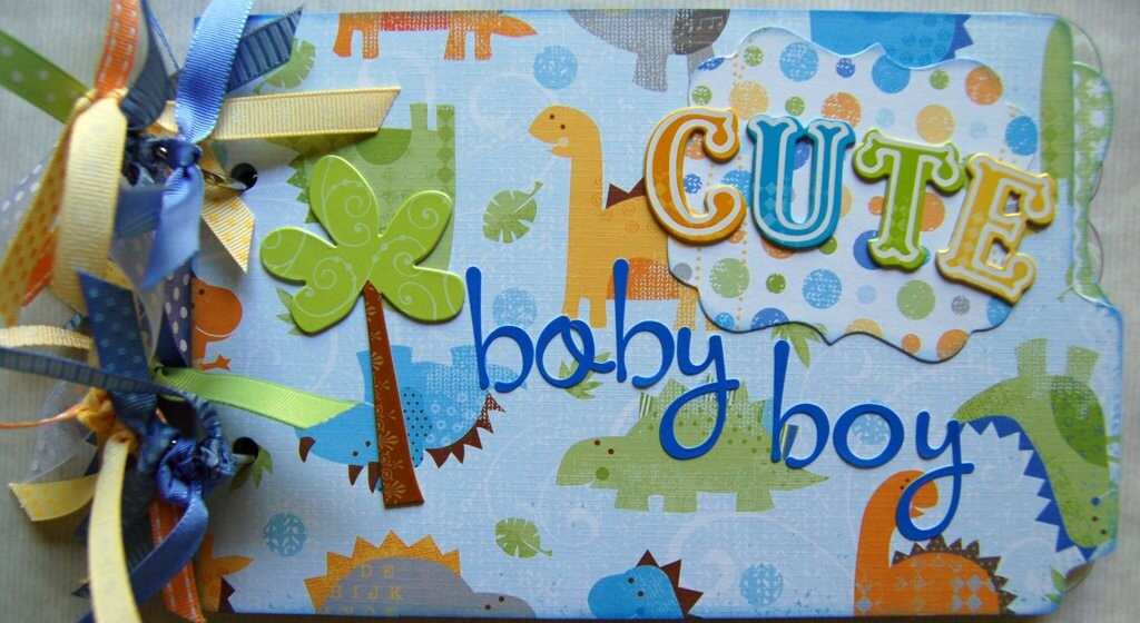 baby saurus dinosaur theme baby boy premade mini album by