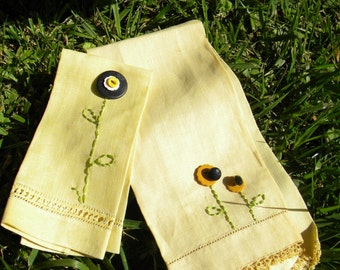French embellished hand towels, Sunny yellow
