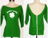 St. Patrick's Day, Green with Four Leaf Clover Upcycled Laced, Wide Neck, Low Back T-Shirt