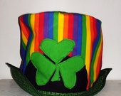Lucky Charms Top Hat in Green and Gold with Shamrocks and Rainbow and Wire Brim