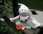 Halloween Ghost and Bat figurine - Polymer Clay figurine - MichellesClayCorner