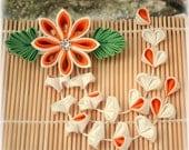 Tropical Orange Japanese Kanzashi Clip