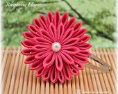 Raspberry Elegance Pink Japanese Kanzashi Hair Clip