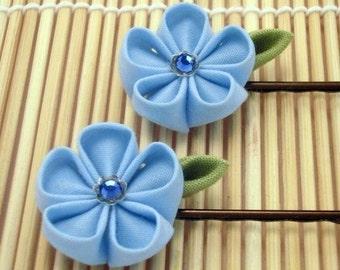 Blue Joy Kanzashi Bobby Pins