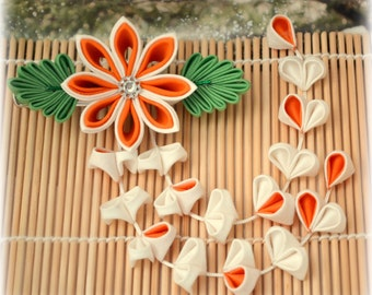Tropical Orange Japanese Kanzashi Clip