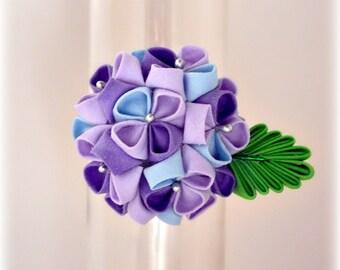 Morning Dew Mini Hydrangea Kanzashi Hair Band Ponytail holder