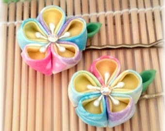 Over the Rainbow Japanese Kanzashi Bobby Pins