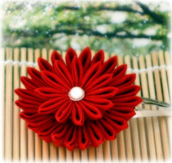 Maroon Elegance Japanese Kanzashi Flower Hair Clip