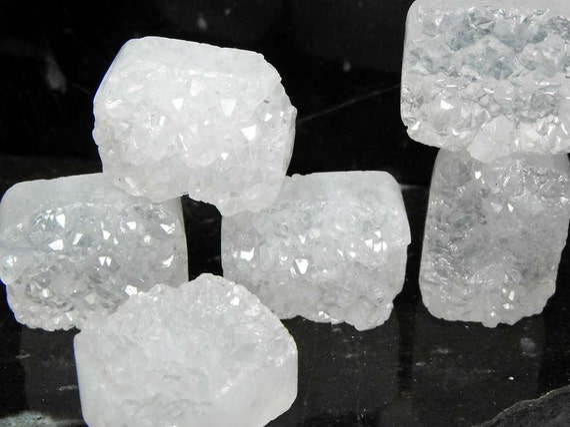 WILD n RUGGED Quartz Sugar Drusy precious gemstone beads stony earthy rectangle shape drilled chunks