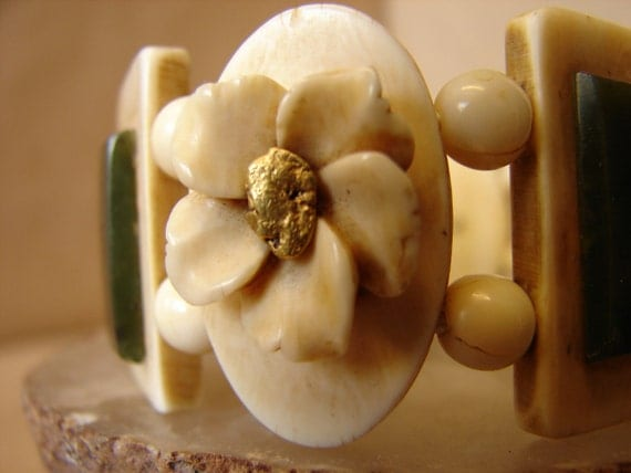 Priced reduced for Carol Bracelet Vintage Alaskan Inuit eskimo. Hand carved walrus ivory and Gold nugget with jade. Priced reduced for Carol