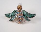 Green Enamel Sparkly Rhinestone Bee Brooch/Pin