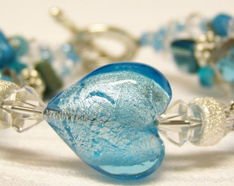 Glass Beaded Bracelet (Silver Triple Strand) - Not So Cold Hearted