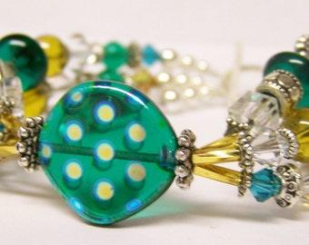 Glass Beaded Bracelet (Silver Triple Strand) - Green Bay Love