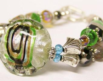 Glass Beaded Bracelet (Silver Double Strand) - Roxie