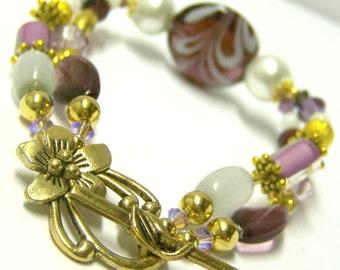 Glass Beaded Bracelet (Gold Double Strand) - Delilah