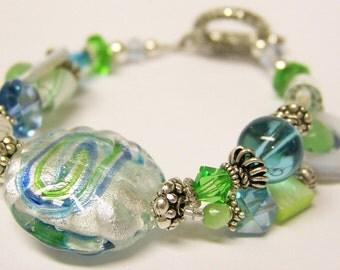 Glass Beaded Bracelet (Silver Double Strand) - Hanna