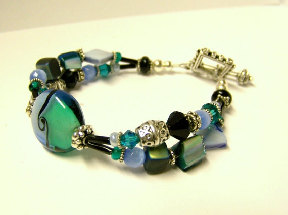 Beaded Bracelet (Silver Double Strand) - Rina