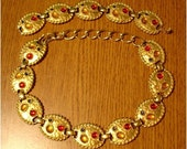 VINTAGE 80s Primary CHIC Party GLAMOUR Gold NECKLACE Bracelet SET