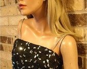 Vintage 80s GLAMOUR 50s Style BLACK Sparkle PARTY Dress