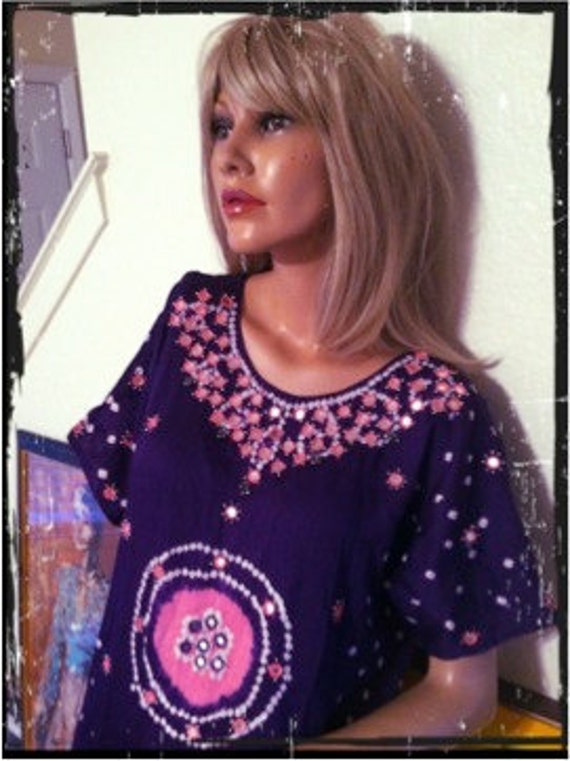 Vintage 60s Hippie TieDye Beaded Mirrored Purple Tunic Dress