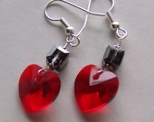 Lovely Heart-Swarovski Hearts-Swarovski Cubes-Red and Black Sparkly Earrings