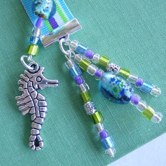 Ribbon and Bead Bookmark with Seahorse Charm