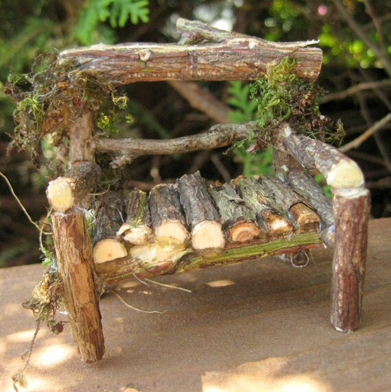 Edible Landscaping And Fairy Gardens: MINIATURE Fairy Garden LOVESEAT Twig Garden Bench By