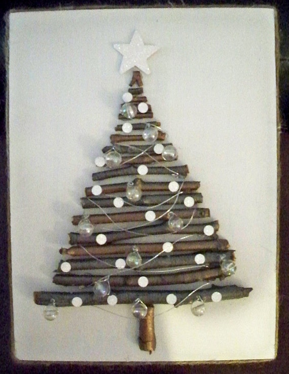 Liamaria Christmas Tree Wall Decoration : Items similar to rustic twig christmas holiday tree wall