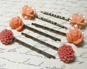 Pink, Coral & Peach Flower Bobby Pin Set