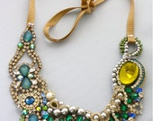 One of a Kind Art Deco Peacock Necklace- ready to ship