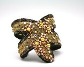 Punk Rock Starfish Cuff- Gold Spikes and Copper Crystal
