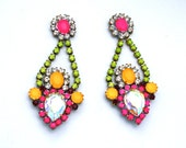 One of a Kind Earrings- Hand Dyed Vintage Crystal Chandelier-  Bogota