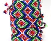 The Original Swarovski Crystal Friendship Bracelet-  Cosmos Design ( Red, Green, Pink & Black)