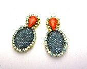 One of a Kind Earrings- Hand Dyed Vintage Crystal Bubbles-  Vanessa