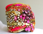 Neon, Gold and Crystal Cuff with Silk and Sequin Detail- Ready to Ship