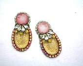 One of a Kind Earrings- Hand Dyed Vintage Crystal Bubbles-  Nadia