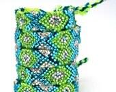 The Original Swarovski Crystal Friendship Bracelet- Cali Lily Design (Green, Silver & Blue)
