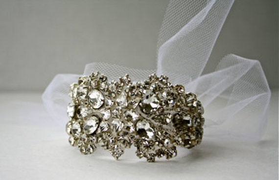 Spiderweb Bridal Cuff - Silver and Clear on White Tulle (other options available)
