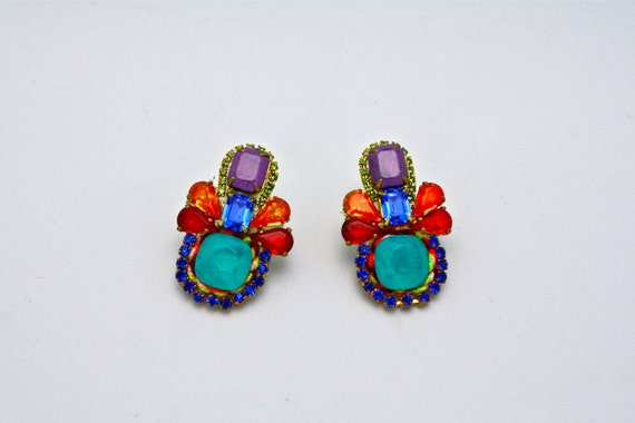 One of a Kind Crystal Knit Earrings- Lima
