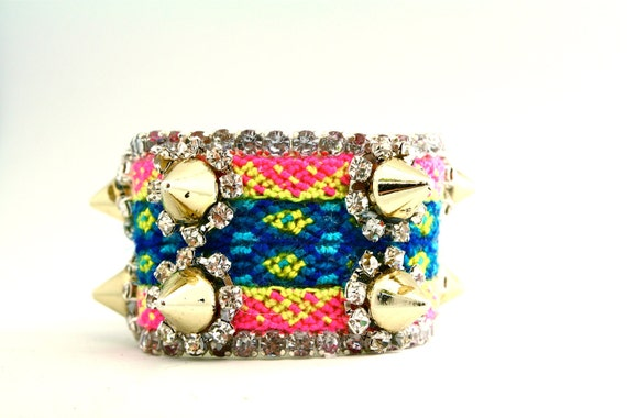 The Frienemy Cuff- Pink with Gold Tone Spikes