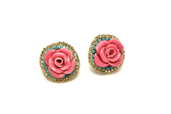 One of a Kind Earrings- Hand Formed Ceramic Pink Rose with Swarovski Crystal