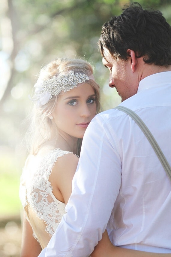 Bridal Bandeau with Crystal, Sequin and Beading on Tulle - The Caitlin